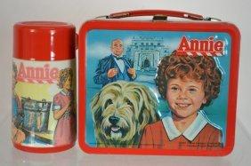 Vintage Annie Tin Lunch Box W/ Thermos