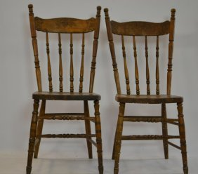 Pair Of Early 20th Century Crest Back Side Chairs