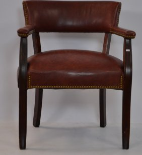Wood And Leather Gentleman's Desk Chair