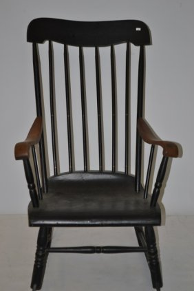Black Painted Rocking Chair W/ Maple Arms