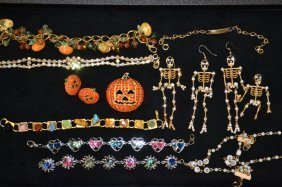 Tray Of Vintage Holiday Costume Jewelry & Others