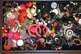 Grouping Of Costume Earrings, Pins & Others