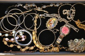 Grouping Of Costume Bracelets & Mexican Silver Pin