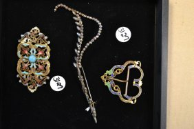 19th C Cut Steel Pin & Two Early Enameled Buckles