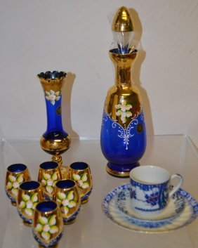 Murano Decanter W/ 6 Shot Glasses & Bud Vase