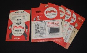 Seven 1950's And 1960's Phillies Official Scorecard