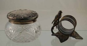 Silver Plated Figural Napkin Ring With Bird Sitting