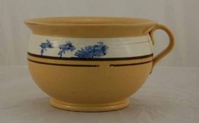 Yelloware Chamber Pot With Mocha Blue Seaweed