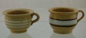 2 Yelloware Banded Miniature Chamber Pots