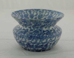 Blue Spongeware Cuspidor