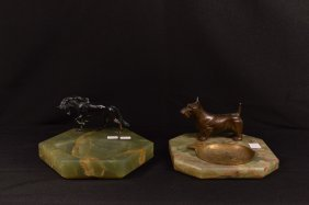 Two Green Marble Ash Trays - Horse And Scotty Dog