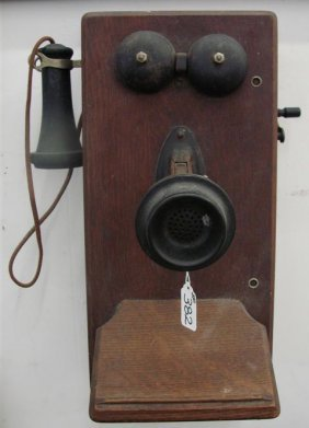 382 Antique Oak Wind Up Crank Telephone With Original