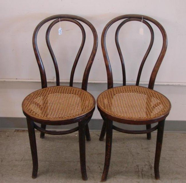 397 Two Antique Bentwood Cane Seat Chairs Auction Est