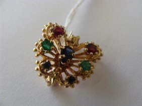 14K Yellow Gold Gemstone Butterfly Scatter Pi