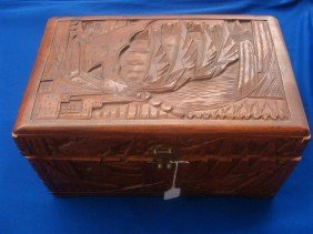 Carved Nautical D�cor Camphor Wood Box With H