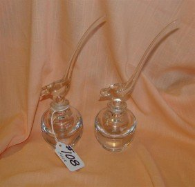 Pair Of Crystal Perfume Bottles W/ Bird Stopp