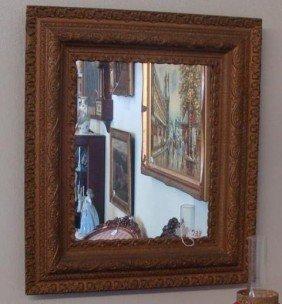 """Antique Gilded Ornately Framed Mirror; 30.5"""""""