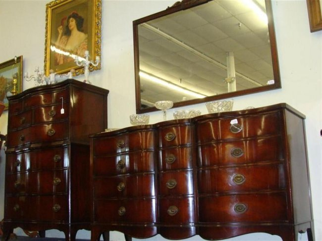 5pc Drexel Mahogany Bedroom Set with Serpentine Front