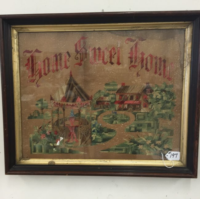 "Antique Needlepoint Sampler; ""Home Sweet Home"" : Lot 197"