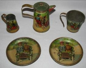 PARTIAL GERMAN TIN LITHO AUTOMOTIVE TEA SET