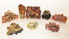 EIGHT PIECES OF CARVED SOAPSTONE