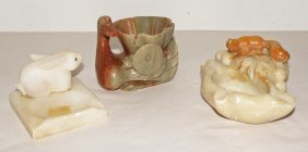 THREE CARVED SOAPSTONE ITEMS WITH ANIMALS