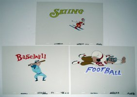 THREE ORIGINAL SPORTS RELATED ANIMATION CELS
