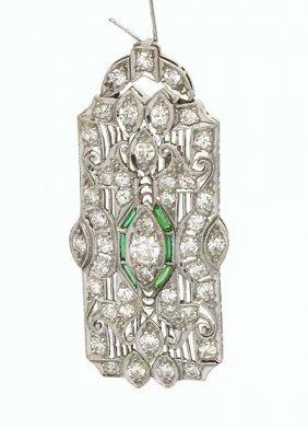 PLATINUM ART DECO 1CT DIAMOND PENDANT/PIN