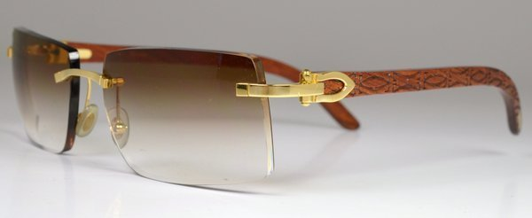 94033db11201 Cartier Rimless Sunglasses Coffee Gold Wood Frame