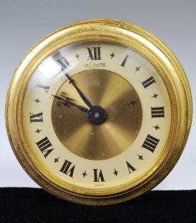 LE COULTRE GILT BRASS DESK CLOCK MODEL 77