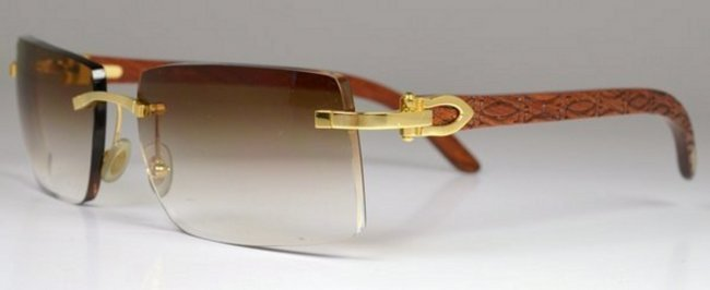MENS CARTIER BUBINGA WOOD SUNGLASSES : Lot 16