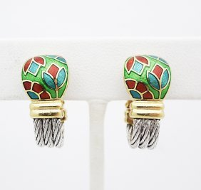 Pr 18k Gold Enamel Force Clip-on Earrings Fred Of Paris