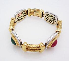 Vintage 18k Gold Emerald Ruby Tormaline Bracelet