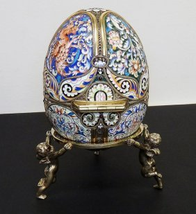 Very Large Russian Silver Enamel Egg With Miniature