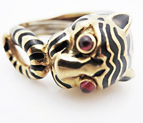 David Webb Tiger 18k Y Gold, Rubies & Enamel Ring