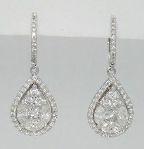 18k White Gold 2.98tcw Diamond Teardrop Dangle Drop
