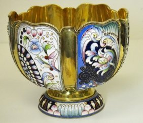 Russian Silver & Enameled Floral Bowl