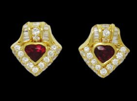 Boom 18k 3.50tcw Natural Pigeon Red Heart Ruby & Vs D-e