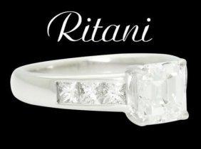 Ritani 18k White Gold 1.50 Carats Tcw Emerald Cut