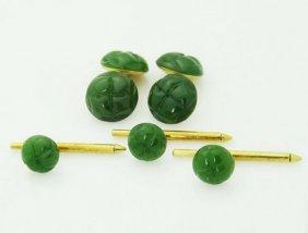 Tiffany & Co 1979 18k Yellow Gold Green Jade Set Of