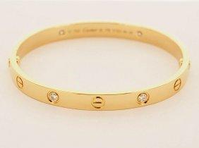 Cartier 18k Gold 4 Diamond Bangle Love Bracelet