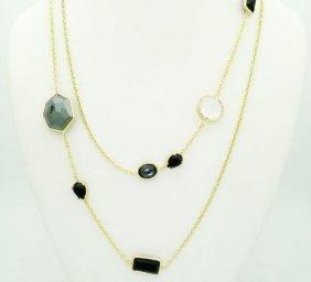 "Ippolita 18k 37"" Topaz Onyx Hematite Necklace"