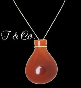 Tiffany & Co. Elsa Peretti Jasper Bottle Jug Pendant On