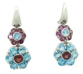 Pasquale Bruni 18k Gold Blue Topaz Tourmaline Flowers