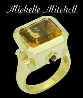 Michelle Mitchell 18k Yellow Gold Imperial Topaz Ring