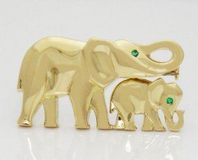 Cartier Emerald & 18k Gold Elephant Mother Child Pin