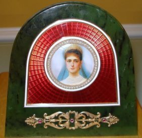 Russian Nephrite & Enamel Gold Picture Frame