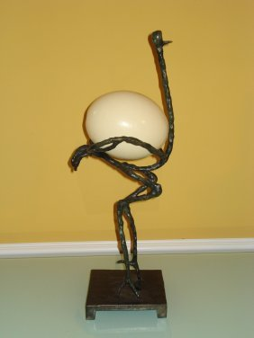 Diego Giacometti Bronze Sculpture Of Ostrich & Egg