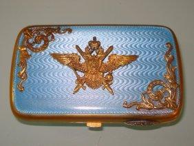 Antique Russian Silver Enamel Diamond Cigarette Case