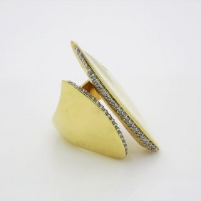 Designer Alexis Bittar 18k Yellow Gold Diamond Ring